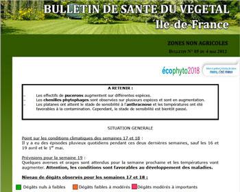 Bulletin de santé du végétal en Ile-de-France